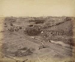 View of excavation from north-east corner, looking south-west [Victoria Dock construction, Bombay].